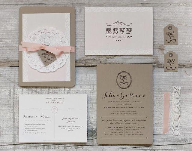 Faire-part #mariage - Sur mesure - Dentelle et kraft © Nabefabric.