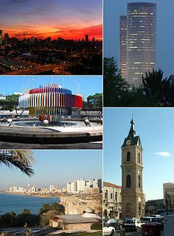 From left to right: Tel Aviv skyline at sunset, Azrieli Center, Dizengoff Square, Jaffa Clock Tower, Beach view from the Old City