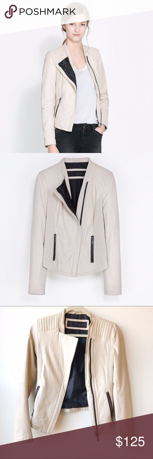 RARE Zara Lamb Leather Jacket RARE find!!! Completely sold out. 100% lambskin leather. Color is cream/beige. Worn only a couple times. In PERFECT condition. Price is firm.   ✅Bundle Discounts! 🚫Trades/PayPal/Other Apps 🚫No lowball offers Zara Jackets & Coats Utility Jackets