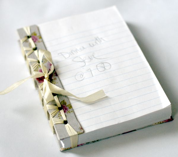 PAPER CRAFTS :: Handmade Notepa Tutorial :: This is made w/ a Mead 5-Star Notebook, some mats (you could use cardboard), fabric & ribbon. The pages tear away, too seeing as they are perforated!  | #mayarts