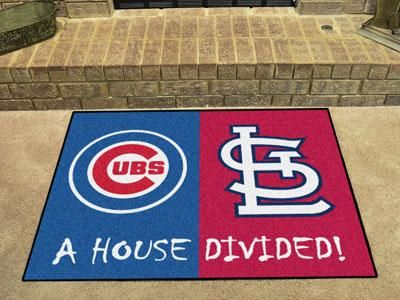 "Cubs - Cardinals House Divided Rug 33.75""x42.5"""