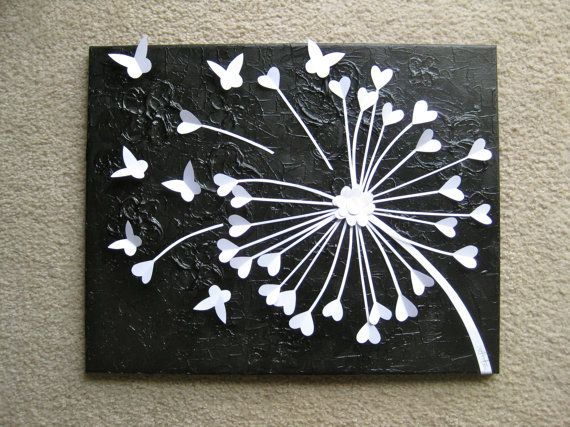 3d butterfly art 3d dandelion art black white for 3d canvas ideas