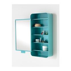 for kids dress up area. small costume stuff like glasses,face paint etc. in shelf. GUNNERN Mirror cabinet with 1 door - blue - IKEA