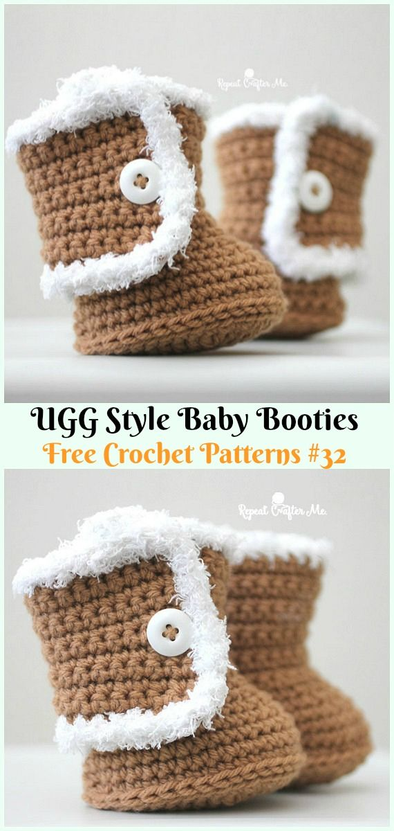 UGG Style Baby Booties Crochet Free Pattern - #Crochet; Ankle High ...