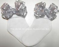 Silver Organza Satin Lame Trim Bow Socks #Silver #Socks #Girls #Baby #Toddler #Holiday #Accessories