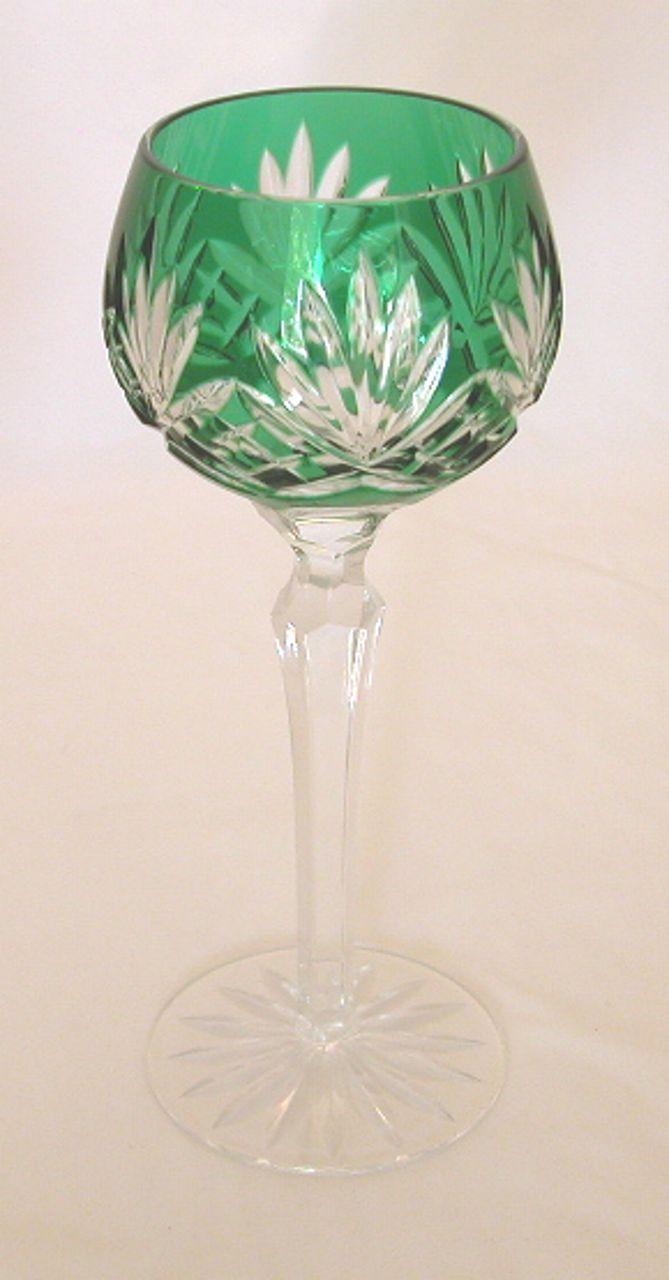 4 Vintage Ajka Caroline Cut to Clear Bohemian Hock Goblets, Wine Glasses, Water Goblets