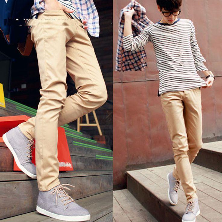 % Брюки джинсы вилочная часть приталенный хаки брюки вилочная часть тенденция свободного покроя узкие брюки брюки-карандаш