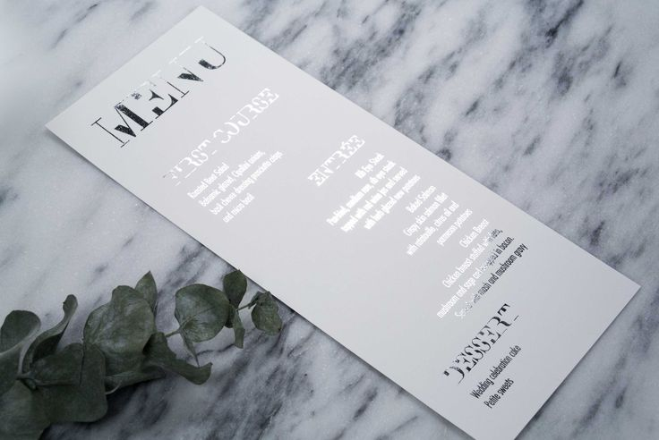 Connor & Oliver Menu: Complement your wedding reception with a modern and elegant use of typography. This design matches our Connor & Oliver wedding suite. Shown in Silver Foil but can be personalized in any of the foil finishes.