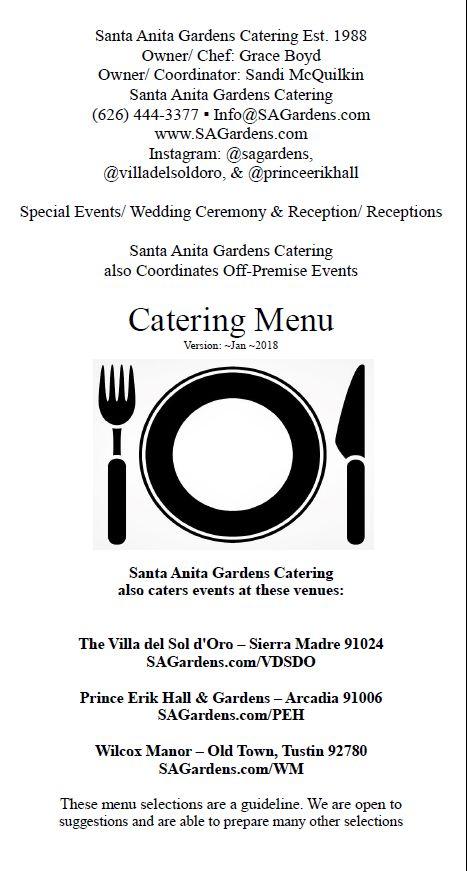 As of ~2018 - Pg 1 of 6: The Santa Anita Gardens Catering Menu