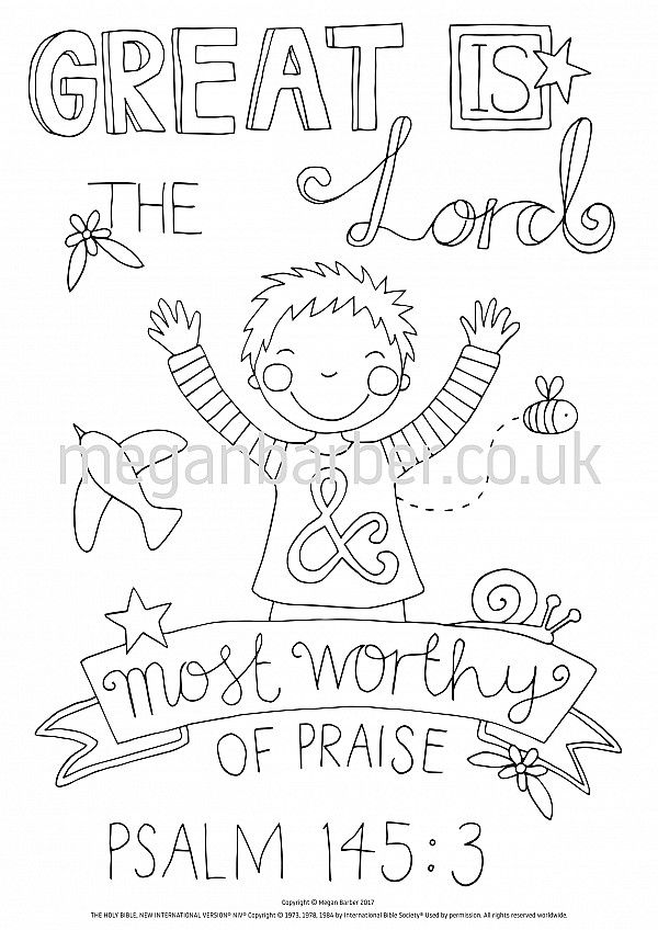 Psalm 145:3 Colouring Sheet #coloring #colouring #sheet #