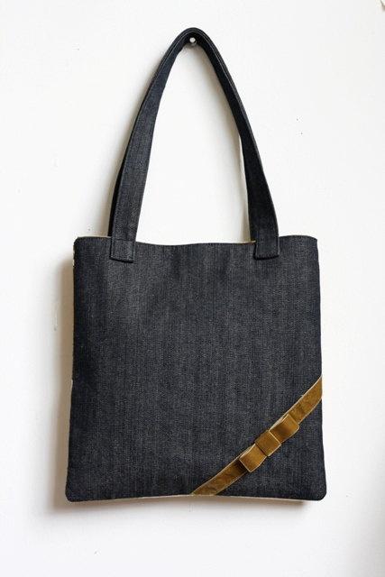 Denim, linen + velvet bow = classy wee bag