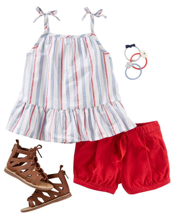 NEW FAVORITE ALERT: with striped chambray, bow straps and a ruffle hem, this tank is sure to be in her weekly rotation. Bright bubble shorts and gladiator sandals complement this versatile ensemble.