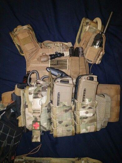 Shellback Tactical (Tactical Assault Gear) Banshee Plate Carrier. BFG whisper dbl pistol mag pouch, dbl rifle HSGI Taco, HSGI Bleeder pouch, tac tailor radio pouch, surefire light mount, grimlock for 5.11 gloves, HSGI shoulder pads