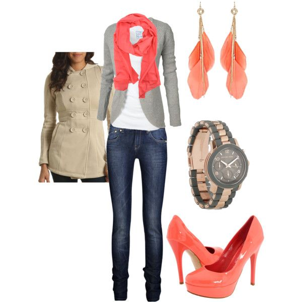 Since I already have the watch, and since I totally love coral, this outfit is totally worth repining!! :) : Shoes, Feathers Earrings, Colors Combos, Pop Of Colors, Dreams Closet, Cute Outfits, Scarfs, Heels, Coral Accent