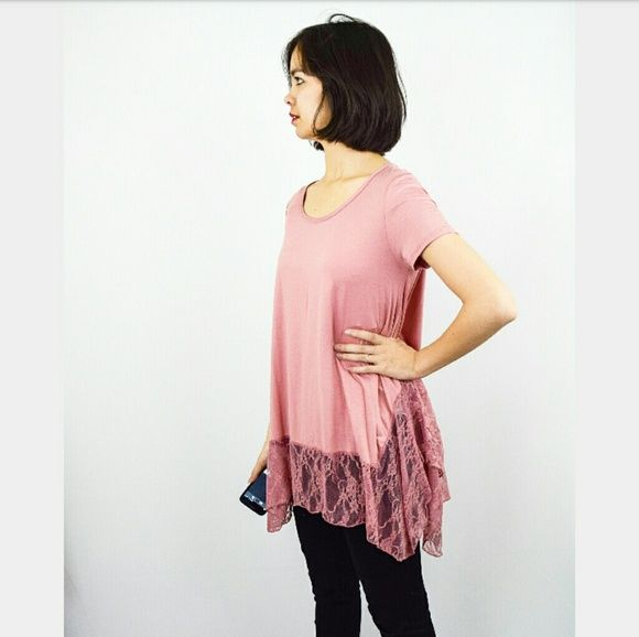 Evelynn's Boutique Tops - Dusty Rose Tunic w/ Lace Trim Bottom