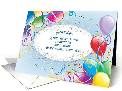 Godson Birthday Balloons Card