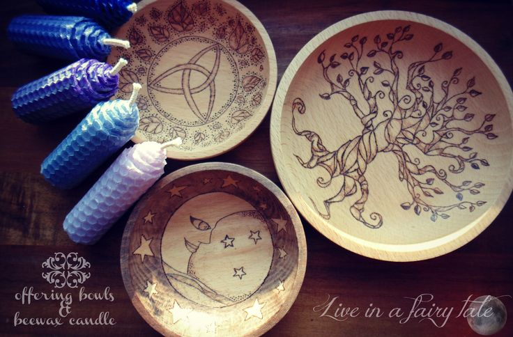 Offering bowls and beewax candle #offeringbowl #beewaxcandle #magiccandle #pagan #witch #wicca #wiccan #witchcraft #treeoflife #moon #moonandstars #triskell #triquestra #fairytale