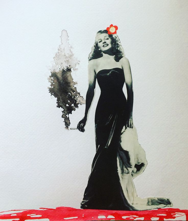 """ Smokin' Hot"" Collage featuring Rita Hayworth"