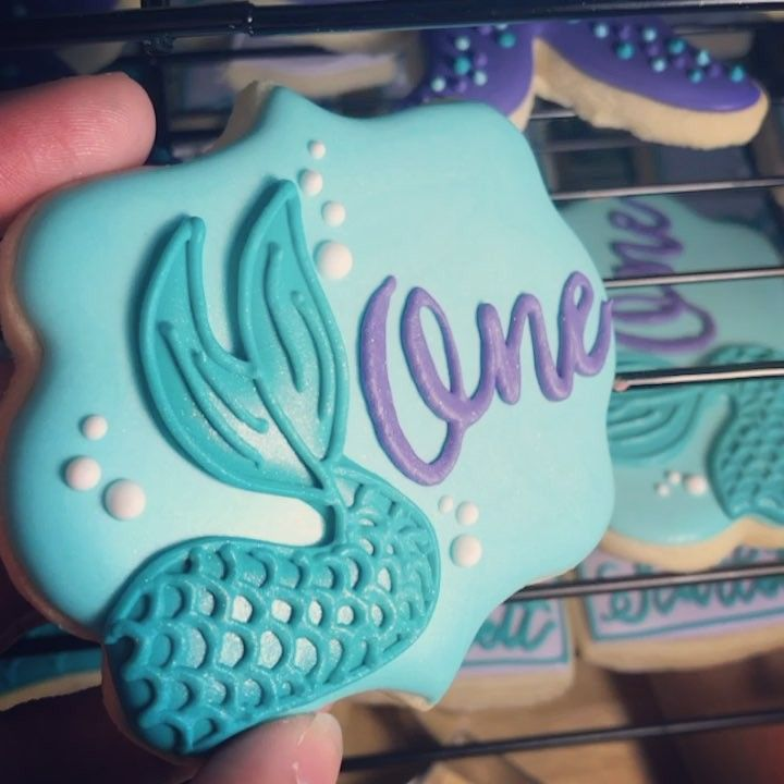 """153 Likes, 9 Comments - @justbee.customcookies on Instagram: """"Every little mermaid deserves a little sparkle ✨"""""""