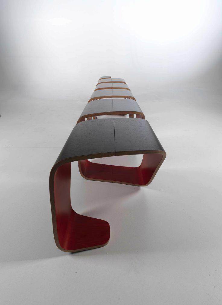 Modular multi-layer wood bench DNA by True Design | design Leonardo Rossano, Debora Mansur