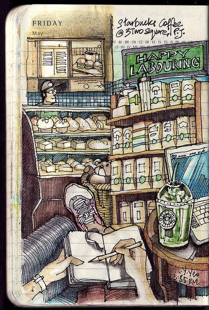 Journalling & coffee ~ Moleskine Pocket Diary, Lamy Safari Charcoal fountain pen (extra fine), Noodler's Ink – Polar Black, Derwent Inktense watersoluble colored pencils