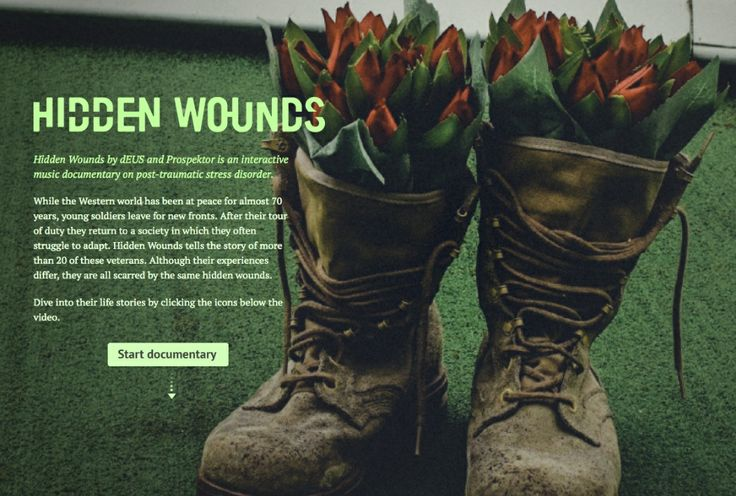 Hidden Wounds is an interactive documentary music video about veterans with post-traumatic stress disorder (PTSD)