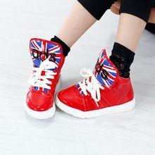 Nový přírůstek Dívky Tenisky jaro-podzim, dětskou obuv módní Union Jack dívky tenisky vysoce kvalitní Dívčí boty SH045A (Čína (pevninská část))