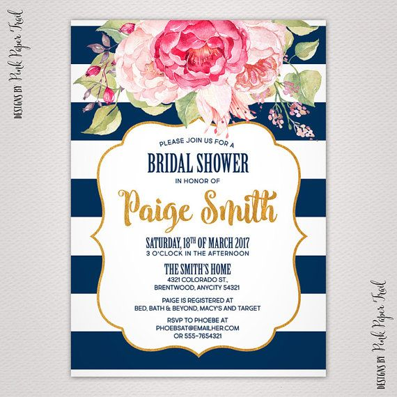 Navy Blue And Blush Pink Floral Invitation Bridal Shower Baby Shower All Occasions Invitation