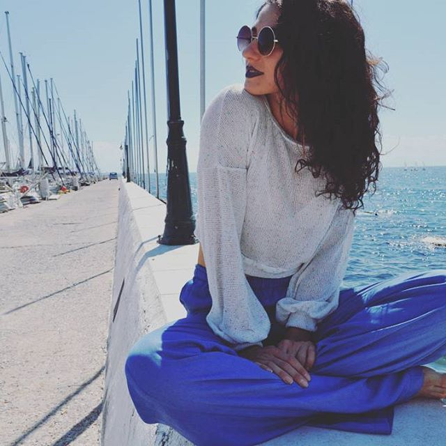 All amazing things are blue. The sea, the sky, these pants :p   #mom jeans #sweatpants jeans #summer pants #blue pants wide leg pants