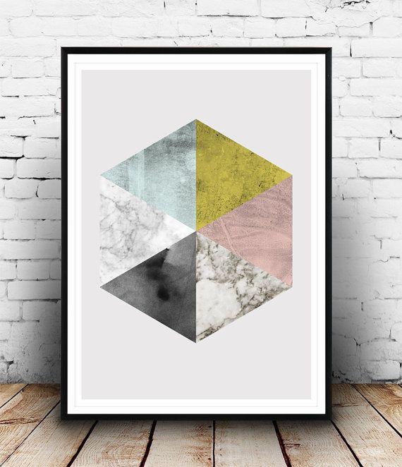 Marmer afdrukken, Hexagon kunst, abstracte print, geometrische kunst, abstract aquarel, Scandinavisch design, moderne kunst, wanddecoratie, pastel kleuren