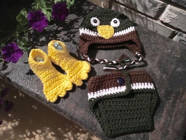 0-3 month old  Baby Mallard Duck Diaper Set - Photo Prop, Unisex by AllMadeUpCrochet on Etsy