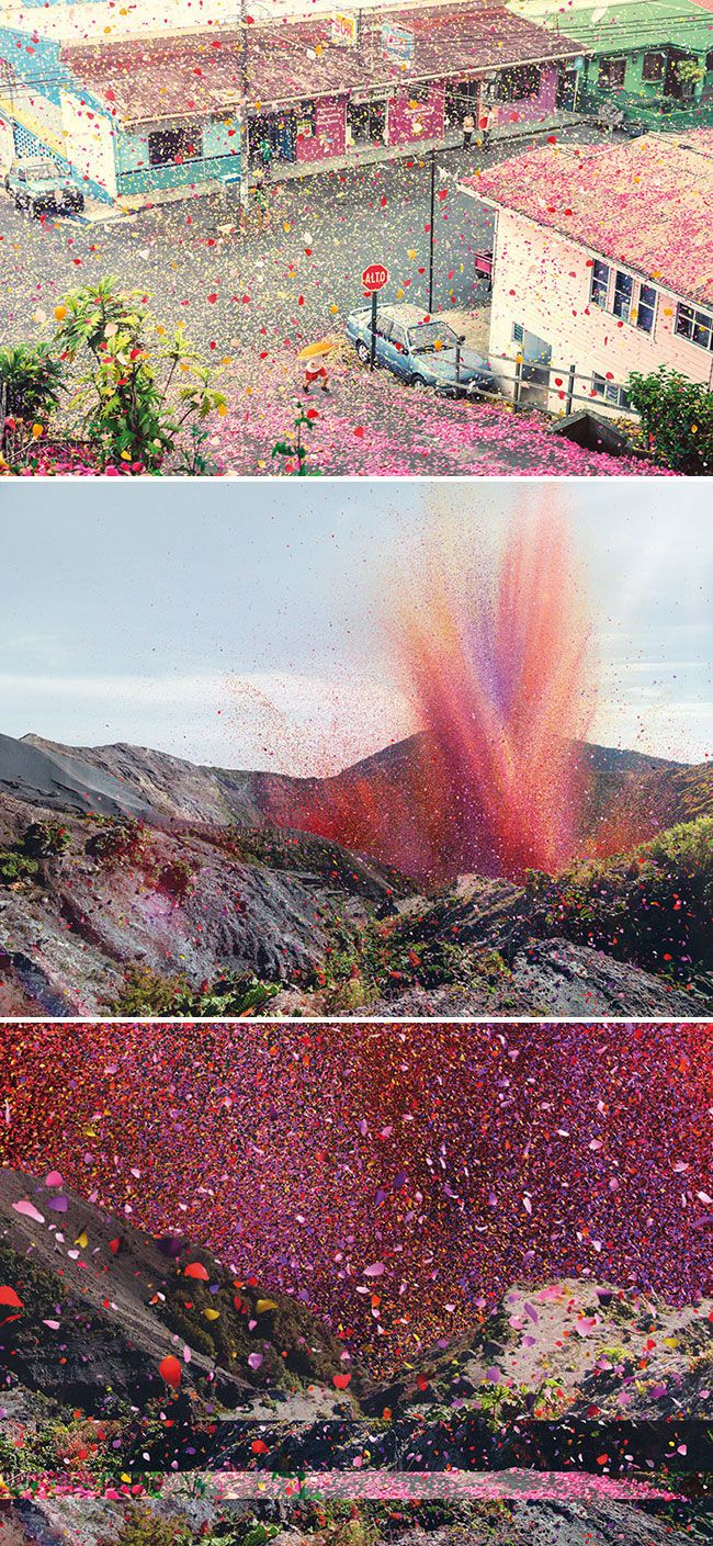 8 million real petals sprinkled across a town in Costa Rica (for new Sony TV ad)