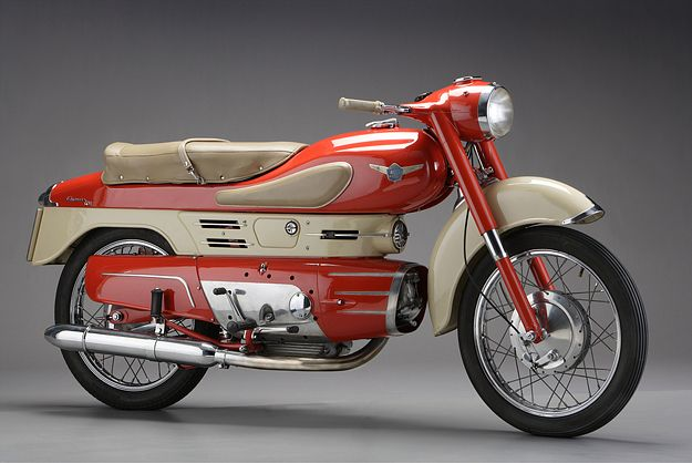1960 AERMACCHI CHIMERA 250  In the USA, Aermacchi is best known for its ill-fated collaborations with Harley-Davidson—which invested in the Italian company in the 1960s, and took complete control in 1974. But in post-war Italy, Aermacchi was known for its racing successes and futuristic designs. The sleek Chimera was available in 175 and 250 cc models.