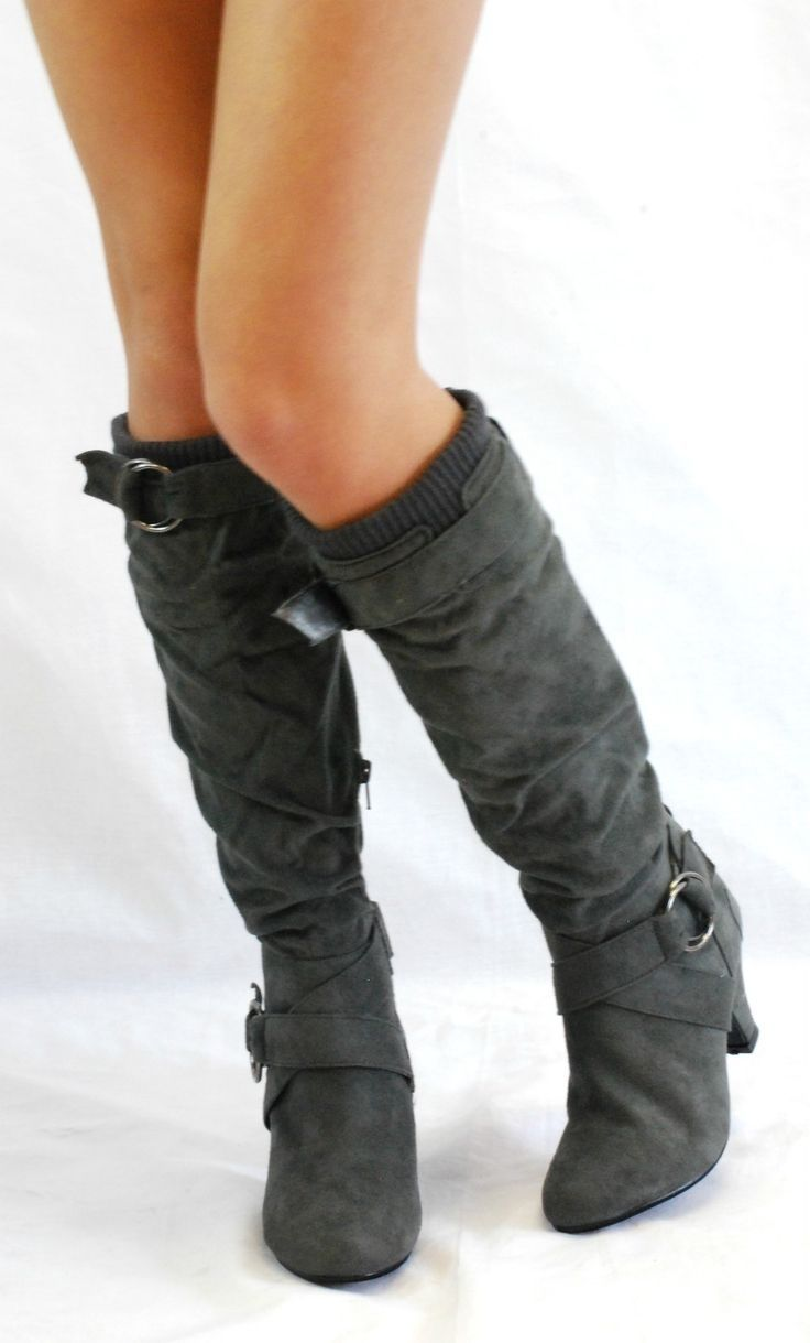 Love these gray suede boots for the fall or winter!