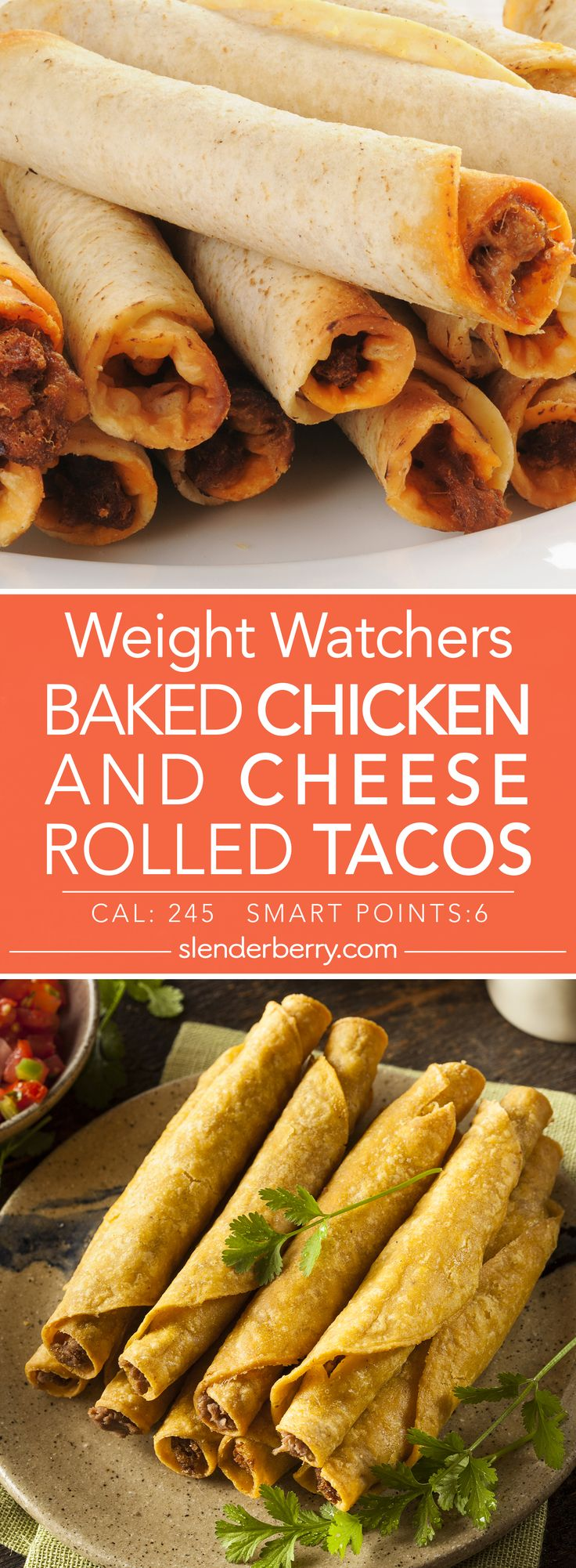 Weight Watchers Baked Chicken and Cheese Rolled Tacos Recipe - 6 Smart Points 245 Calories