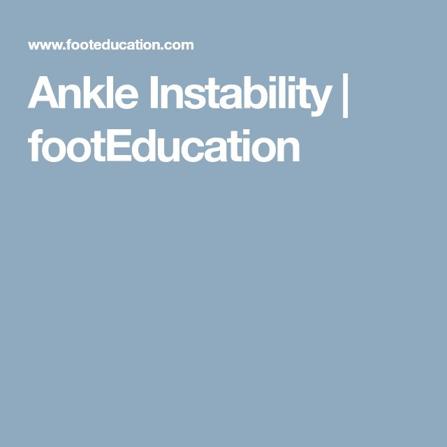 Ankle Instability | footEducation