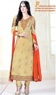 Tan Brown Color Georgette Thread Work Churidar Kameez   FH463472307 #pakistani , #evening , #dress , #heenastyle , #party , #wear , #anarkali , #salwar , #kameez , #dupatta , #churidar , #suit , #fashion , #online , #shopping , #casual , #designer , @heenastyle , #store, #shop , #boutique , #straight , #georgette , #fabric , #readymade #ethinic #formal , #punjabi , #patiyala , #gowns , #plazzo