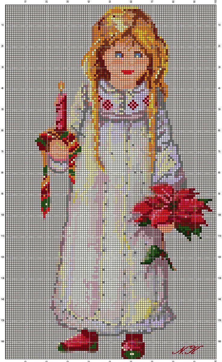 "Points de croix *@* cross stitch ""Waiting for Santa""A Lisi Martin's illustration's adaptation  work by Nurdan Kanber"