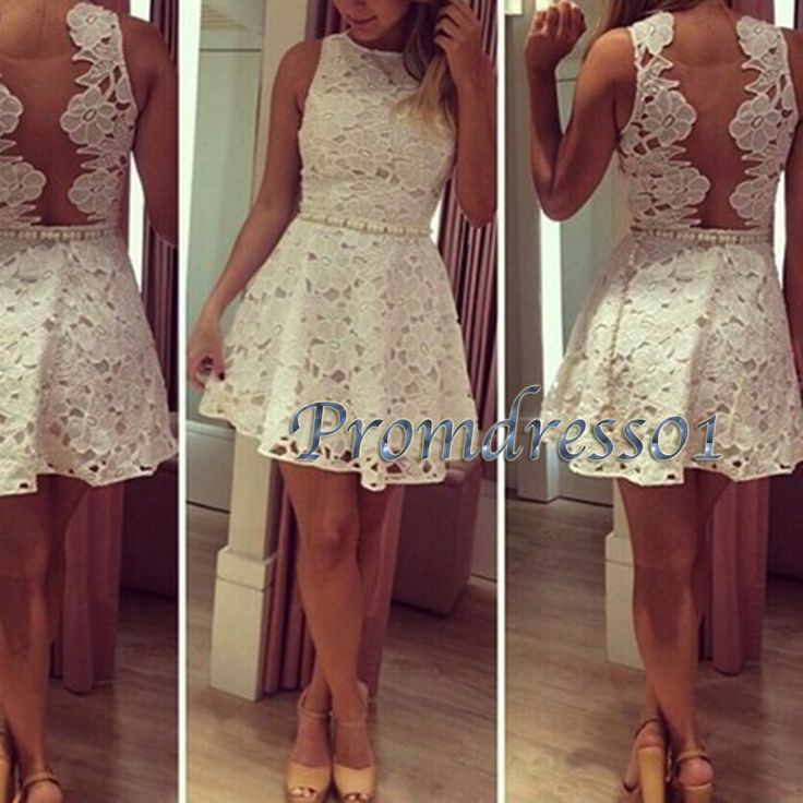 Cute creamy white lace round neck mini party dress, open back short prom dress, maxi dress for teens -> http://www.promdress01.com/#!product/prd1/4241117805/cute-creamy-white-lace-round-neck-mini-party-dress