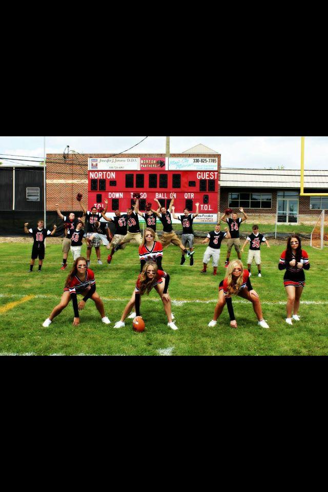 Role reversal...cheerleader and football photo shoot ...