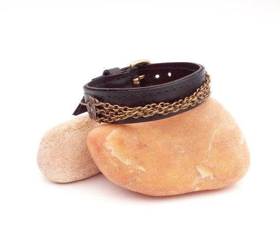 Black leather bracelet Leather bracelet with by GloberinaDesign