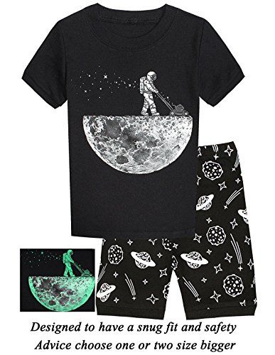cbb62644356c Boys Pajamas Space Glow In The Dark Short Toddler Summer Clothes ...