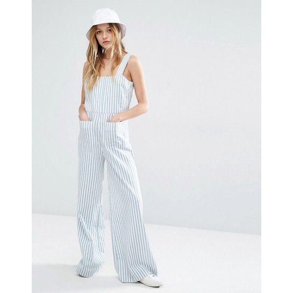 Rolla's Stripe Jumpsuit (515 SEK) ❤ liked on Polyvore featuring jumpsuits, blue, tall jumpsuit, blue jumpsuit, striped jumpsuit, blue wide leg jumpsuit and cotton jumpsuit
