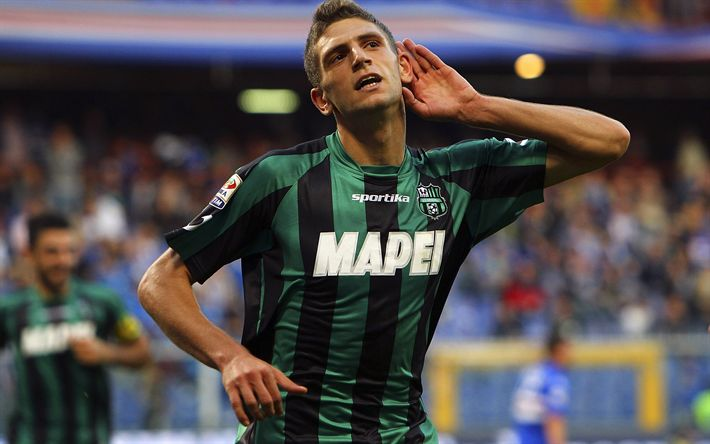 Download wallpapers Sassuolo, Domenico Berardi, match, Serie A, goal, footballers, soccer