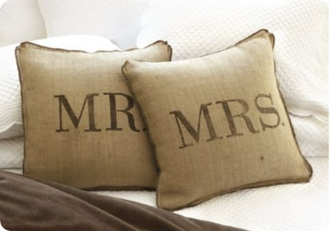 on our bed... Pillows Covers, Beds, Handmade Christmas Gift, Gift Ideas, Burlap Pillows, Master Bedrooms, Throw Pillows, Diy Pillows, Wedding Gifts