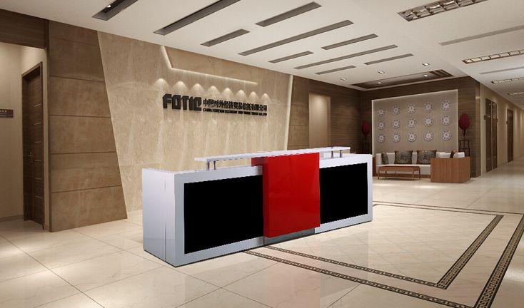 3.4 m red white wood information table desk for 2 receptioner #QT3408