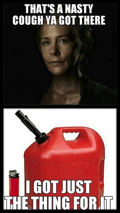 Carol.  She stabbed them before burning the bodies, so there's a knife missing in the picture.