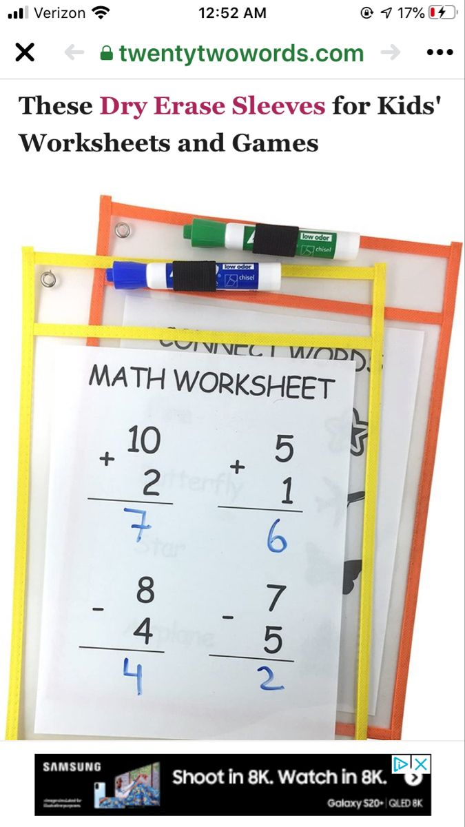 10ct Dry Erase Pockets Bullseye S Playground Dry Erase Math Worksheet Worksheets For Kids [ 1200 x 675 Pixel ]