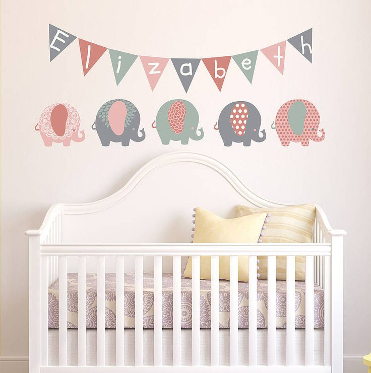Pastel Elephant Childrenu0027s Wall Stickers Part 36