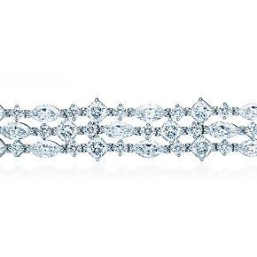 Bracciale sfrangiato, con diamanti tondi e taglio marquise e cuscino, in platino